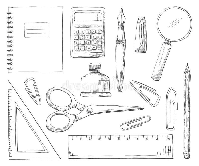 Fournitures de bureau tirées par la main d'isolement sur le fond blanc Illustration de vecteur d'un style de croquis illustration libre de droits
