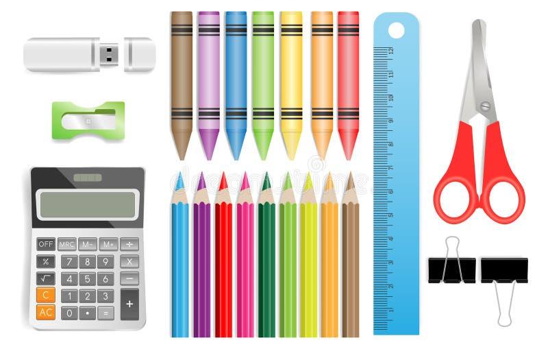 Fournitures scolaires avec calculatrice, crayons de couleur, règle, ciseaux, lecteur flash USB, aiguisseurs, clips de papier noir illustration de vecteur