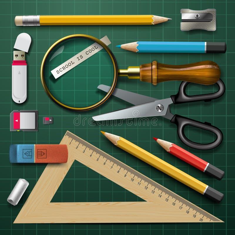 Fournitures scolaires colorées illustration stock