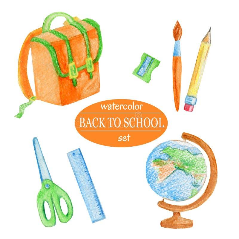 Fournitures scolaires d'orange d'aquarelle illustration de vecteur