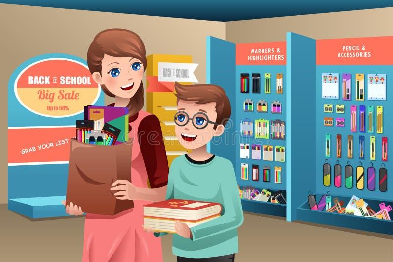 Fournitures scolaires de achat de mère et de fils illustration libre de droits
