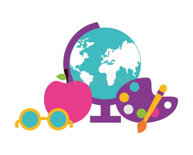 Fournitures scolaires de palette d'art de pomme de carte de globe illustration libre de droits