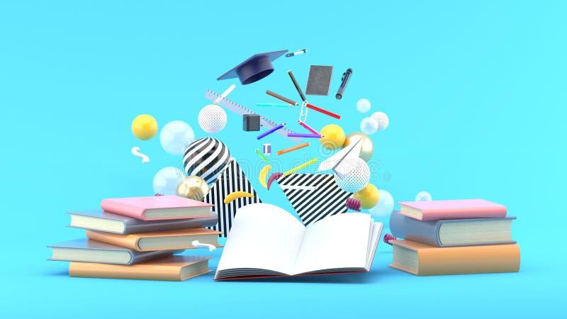 Fournitures scolaires flottant hors d'un livre parmi les boules colorées sur un fond bleu illustration de vecteur