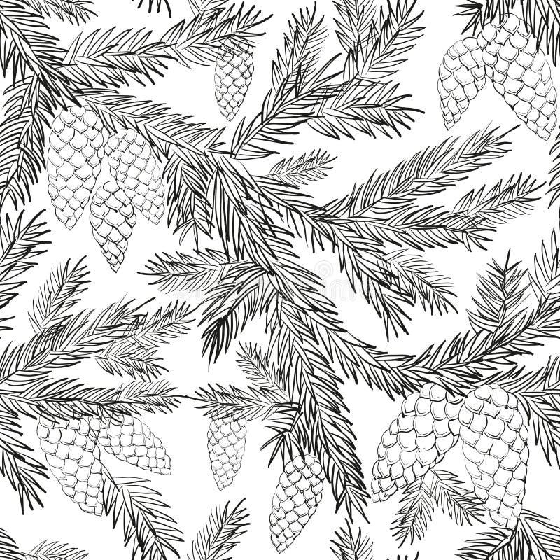 Fourrure-arbre sans couture de modèle illustration de vecteur