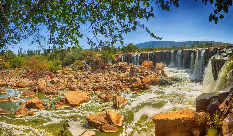 Fourteen Falls in Kenya. Waters flow on the Fourteen Falls along the Athi River, Kenya`s second longest river royalty free stock images