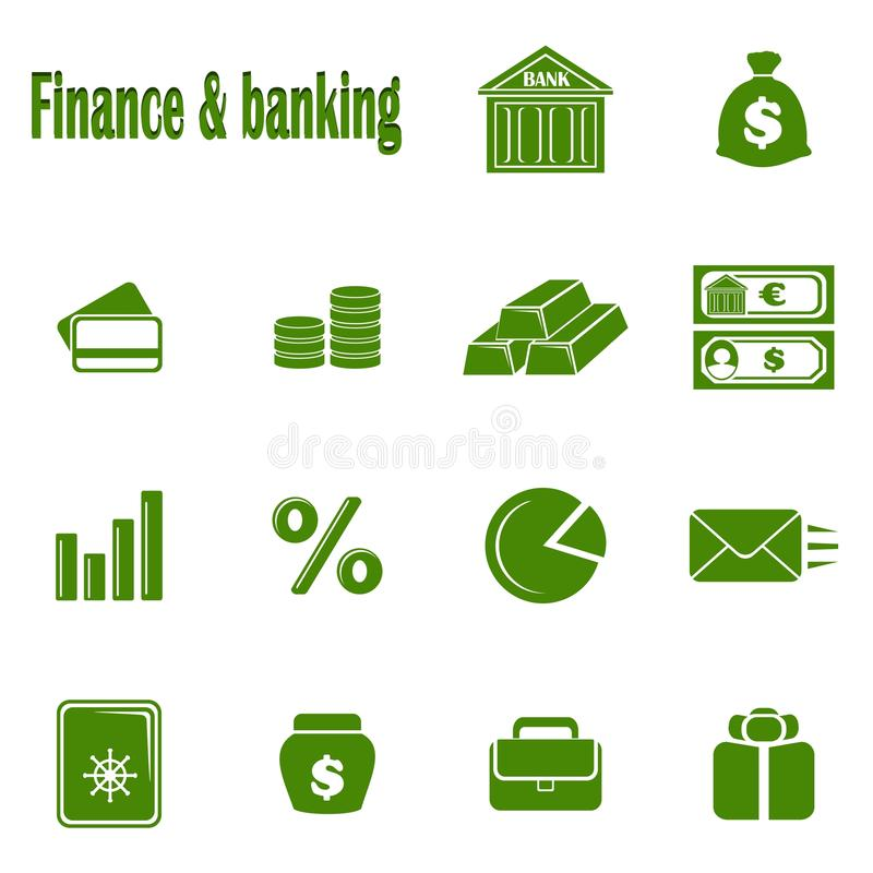 Fourteen monochrome icons Finance & banking stock photography