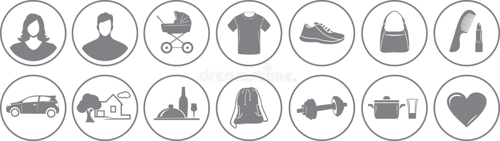 Fourteen service icons for online store stock images