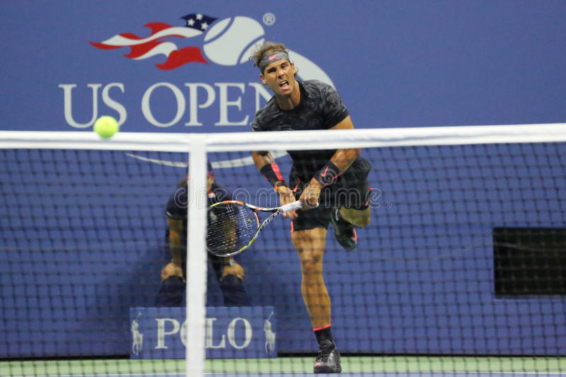 Fourteen times Grand Slam Champion Rafael Nadal of Spain in action during his opening match at US Open 2015. NEW YORK - AUGUST 31, 2015: Fourteen times Grand stock image