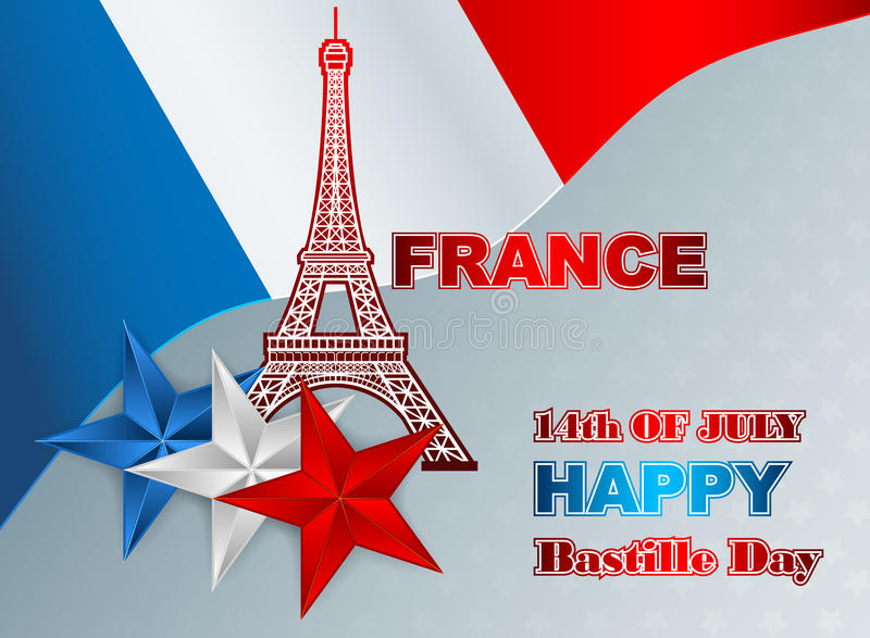 Fourteenth of July, Bastille Day of France, background with Eiffel Tower. Fourteenth of July, Bastille Day of France background; Holidays layout template with stock illustration