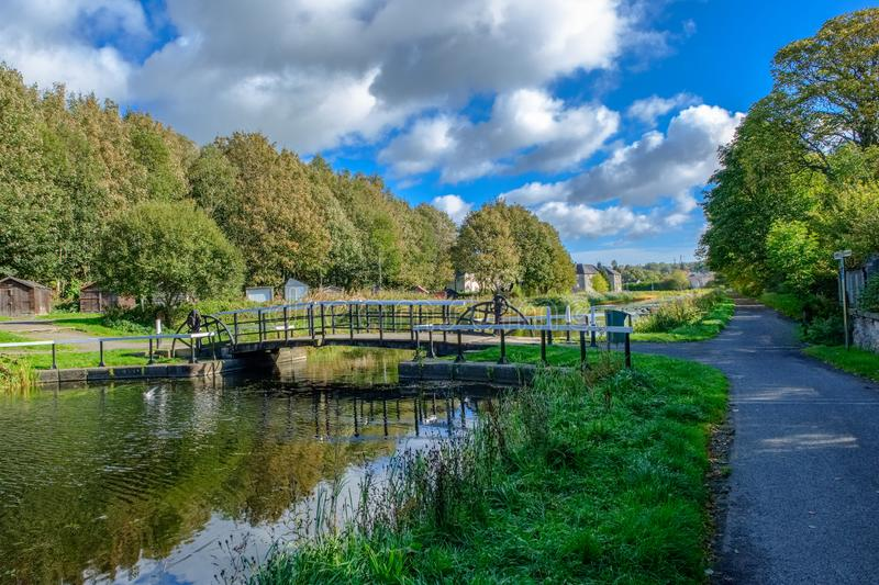 Fourth & Clyde Canal Swing Bridge Old Kilpatrick & Beautiful Ref. The Forth and Clyde Canal is a canal opened in 1790 and part of Scotlands seagoing history this stock photos