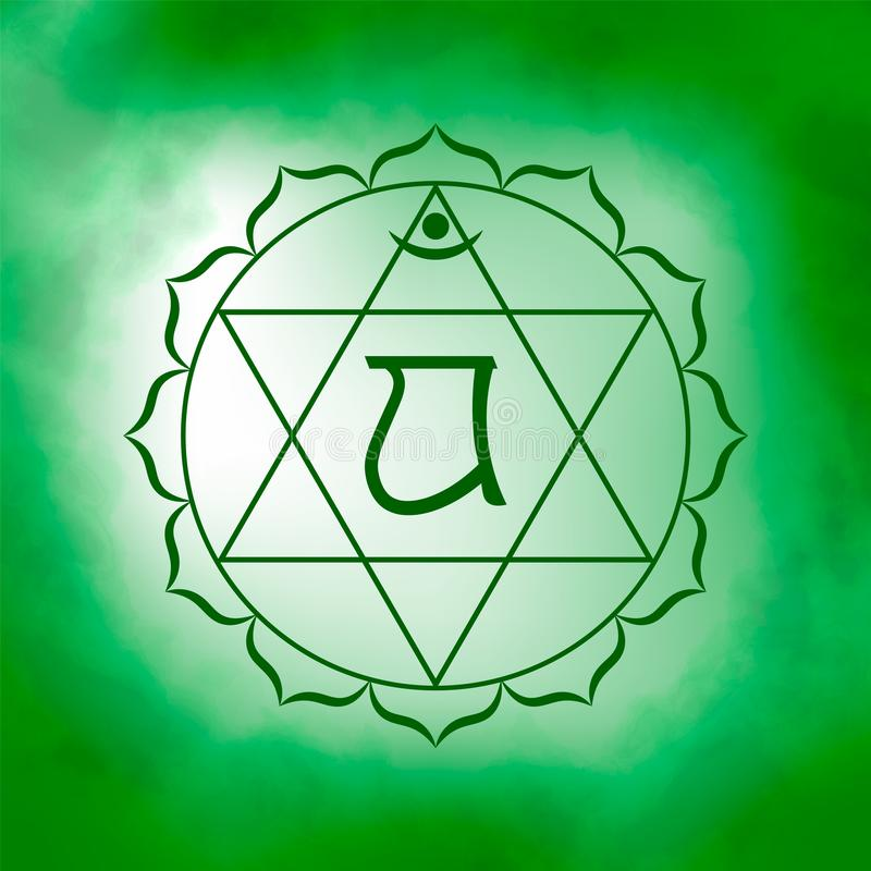 Fourth, heart chakra - Anahata. Illustration of one of the seven chakras. The symbol of Hinduism, Buddhism. Green watercolor fog on background vector illustration