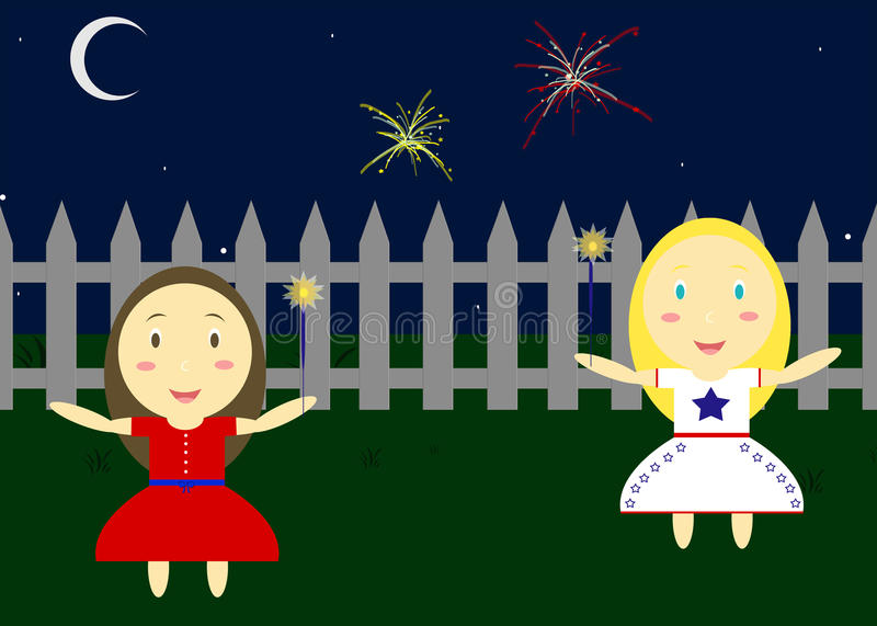 Fourth Of July. Illustration Of Two Children Playing With Sparklers Outside royalty free illustration