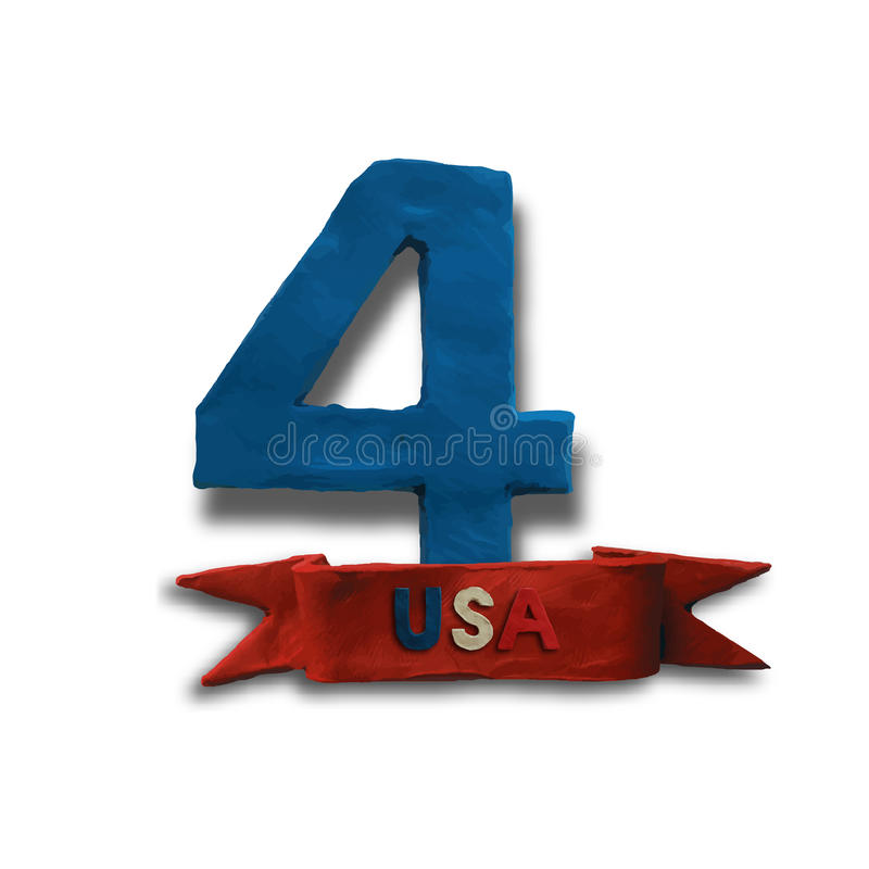 The fourth of July. American Independence Day background vector. Big blue number four on white background. Plasticine modeling royalty free illustration