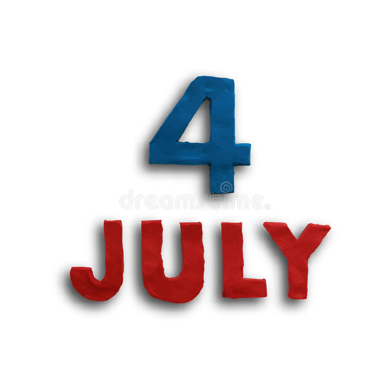 The fourth of July. American Independence Day background vector. Plasticine modeling stock illustration