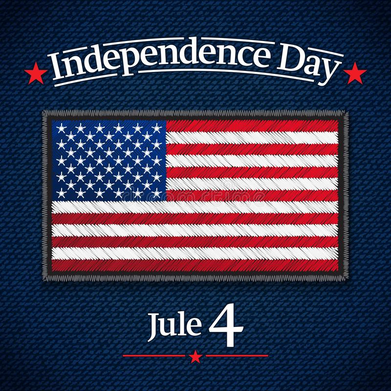 The fourth of July, American Independence Day vector greeting card. Jule 4. USA Flag on jeans fabric. Vector. The fourth of July, American Independence Day royalty free illustration