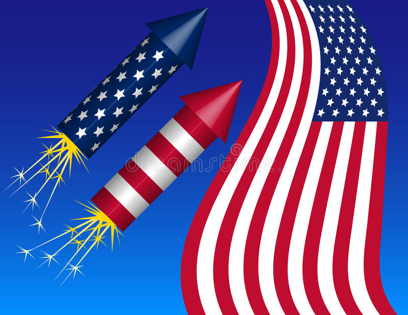 Fourth of July Background. Of bottle rockets and American Flag stock illustration
