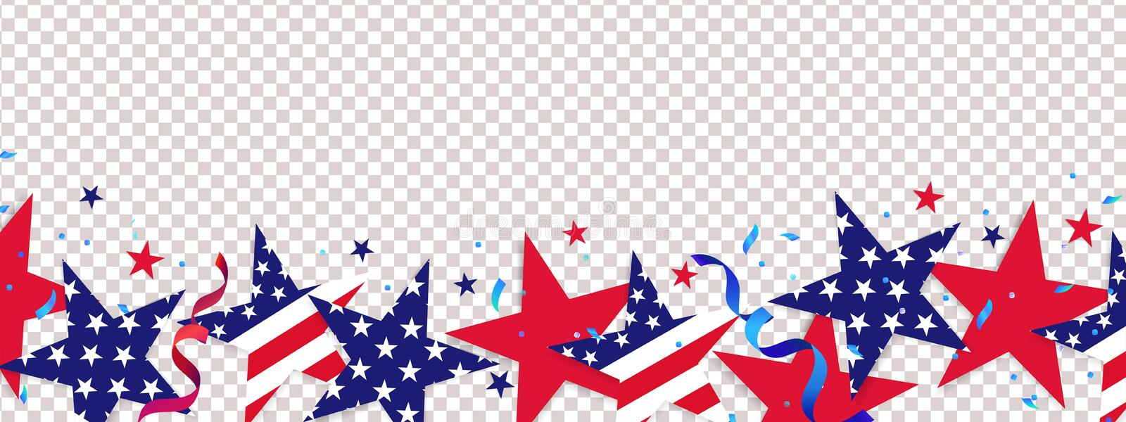Fourth of July background. 4th of July holiday long horizontal border stock illustration