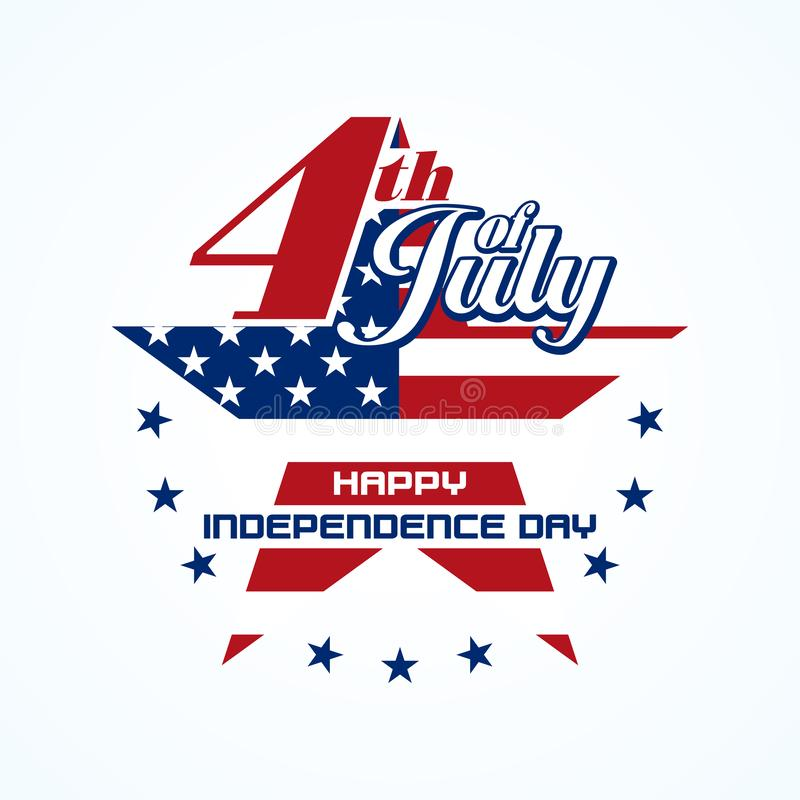 Fourth of July badge. With star shape. Independence day typographic lettering on white background royalty free illustration