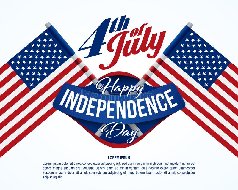Fourth of July banner. American flags on background stock illustration