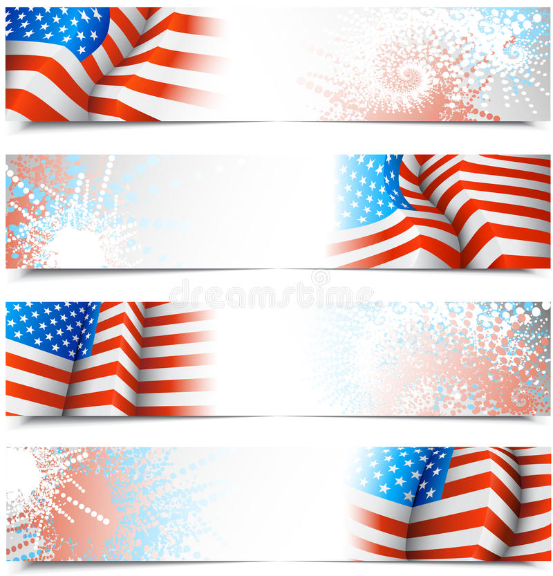Fourth of July banners. With USA flags. All banners are layered stock illustration