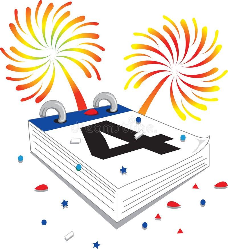 Fourth of July calendar royalty free illustration