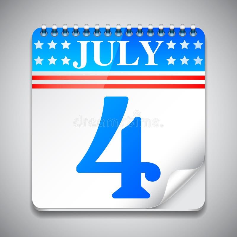 Fourth July Calendar. Vector illustration of fourth july USA independence day calendar royalty free illustration