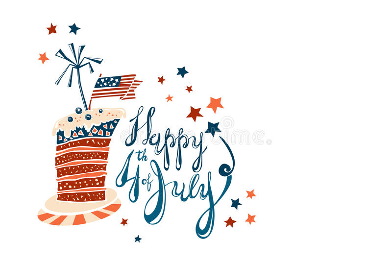 Fourth of July Cartoon Lettering with striped cake. Fourth of July Cartoon Vector Lettering with striped cake vector illustration