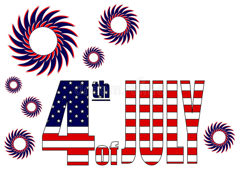 Fourth of July celebration. Theme over white background royalty free illustration