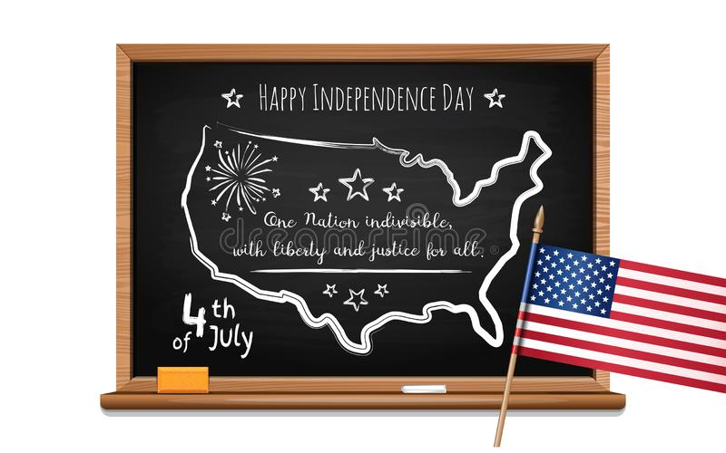 Fourth of July. Chalk inscription on blackboard. Happy Independence Day. Words US oath of allegiance, USA map and flag. Chalk inscription on blackboard. 4th of vector illustration
