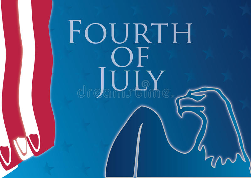 Fourth of july composition. Beautiful fourth of july composition with american bald eagle and sample text. Text and colors can be changed in additional format stock illustration