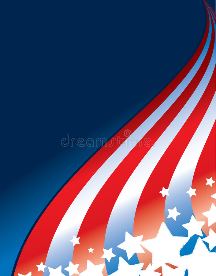 Fourth of July Design. Illustration for the 4th of July, Flag Day or Memorial Day featuring stars and stripes stock illustration