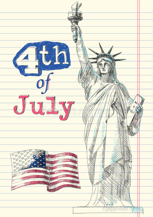 Fourth of July Doodles. A Set of Fourth of July Doodles royalty free illustration