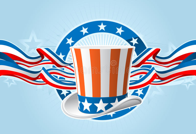 Fourth of july emblem. With Uncle Sam top hat and ribbons stock illustration