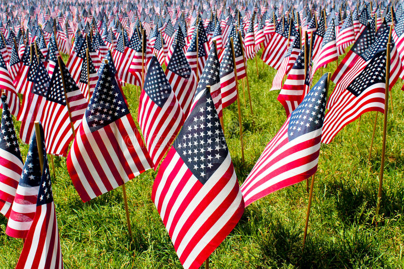Fourth of July field of flags. Field of flags on Fourth of July in the United States royalty free stock images