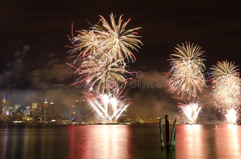 Fourth of July fireworks. In New York City royalty free stock photo