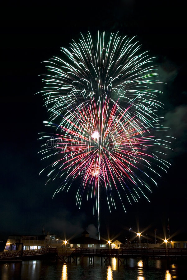 Fourth of July Fireworks. Over puget sound royalty free stock photography