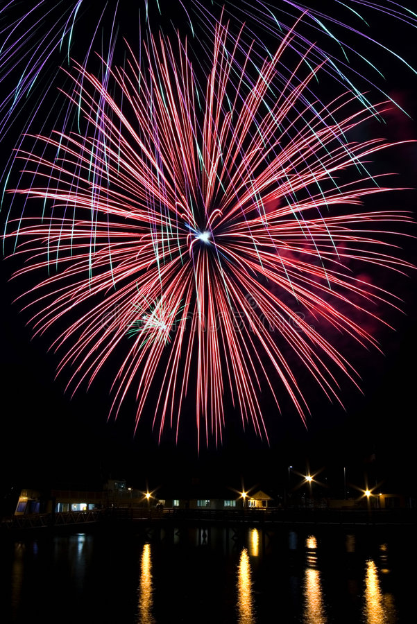 Fourth of July Fireworks. Over puget sound royalty free stock images