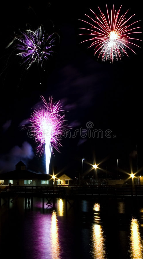 Fourth of July Fireworks. Over puget sound stock photo
