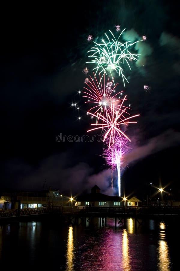 Fourth of July Fireworks. Over puget sound stock image