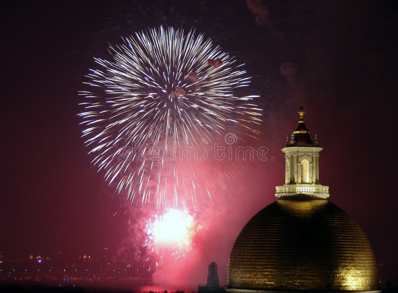 Fourth of July Fireworks in Boston 2006. Fourth of July fireworks in Boston Massachusetts above the Charles River behind the State House royalty free stock images