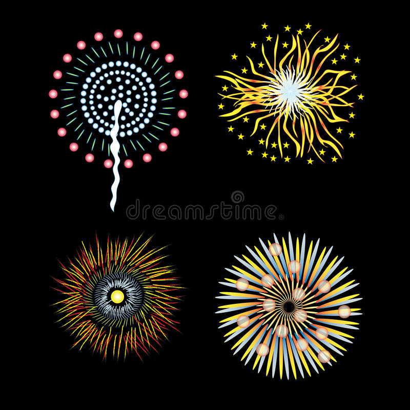 Fourth July fireworks Fourth of July fireworks llustration for holiday celebration Independence day vector Happy 4th July eps vector illustration