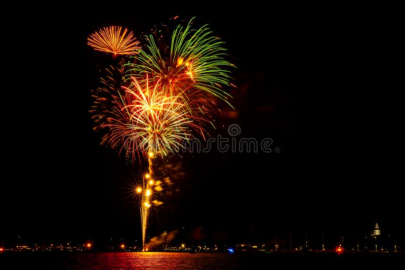 Fourth of July Fireworks over Annapolis, MD stock photo