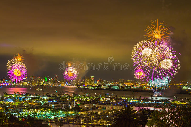 Fourth Of July. Fireworks Over San Diego Bay, California stock photo
