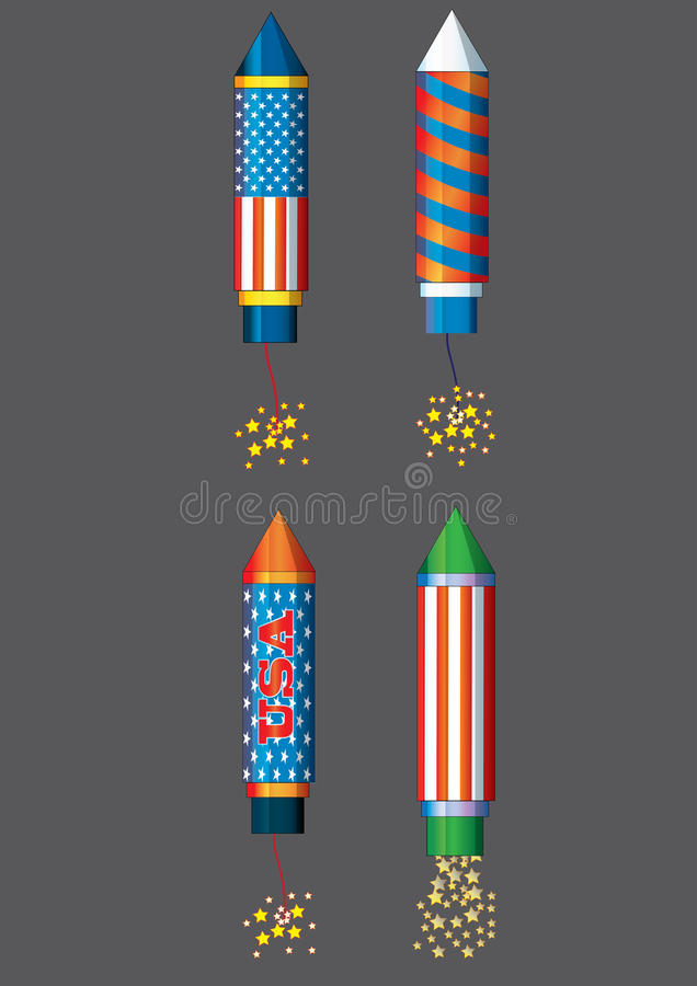 Fourth July fireworks rockets Fourth of July fireworks colorfull llustration for holiday celebration Independence day vector vector illustration