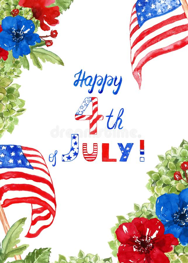 Fourth of july floral frame with US flags, red and blue flowers on white background. Patriotic decorative card stock photography