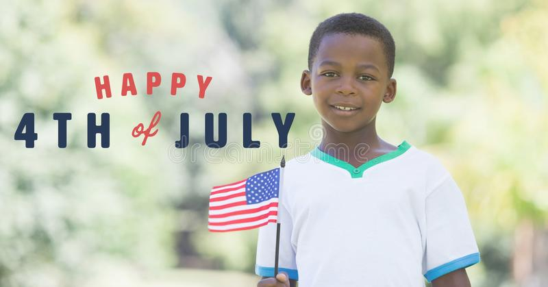 Fourth of July graphic next to boy holding american flag. Digital composite of Fourth of July graphic next to boy holding american flag stock image
