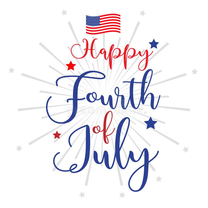 Fourth of July hand lettering inscription for greeting card, banner etc. Happy Independence Day of United States of America. Calligraphic background.Lettering royalty free illustration
