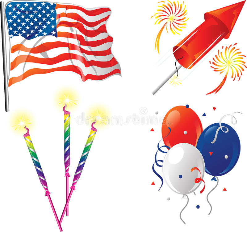 Fourth of July icons. Illustrations of four icons for the fourth of July vector illustration