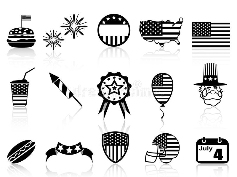 Fourth of July icons set royalty free illustration