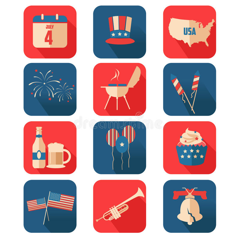 Fourth of July icons royalty free illustration